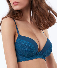 Light padded lace bra blue.