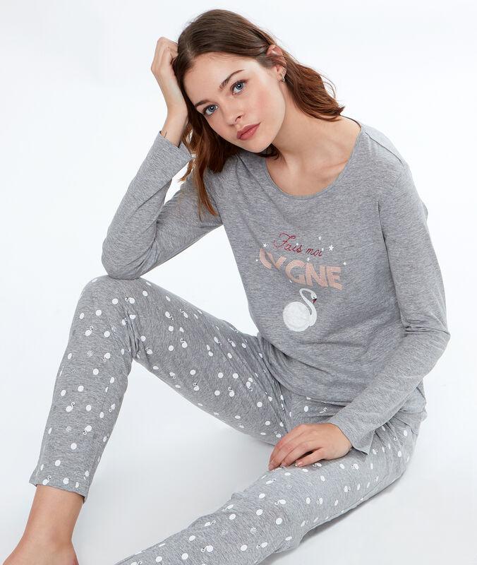 Pants printed cygnes grey.
