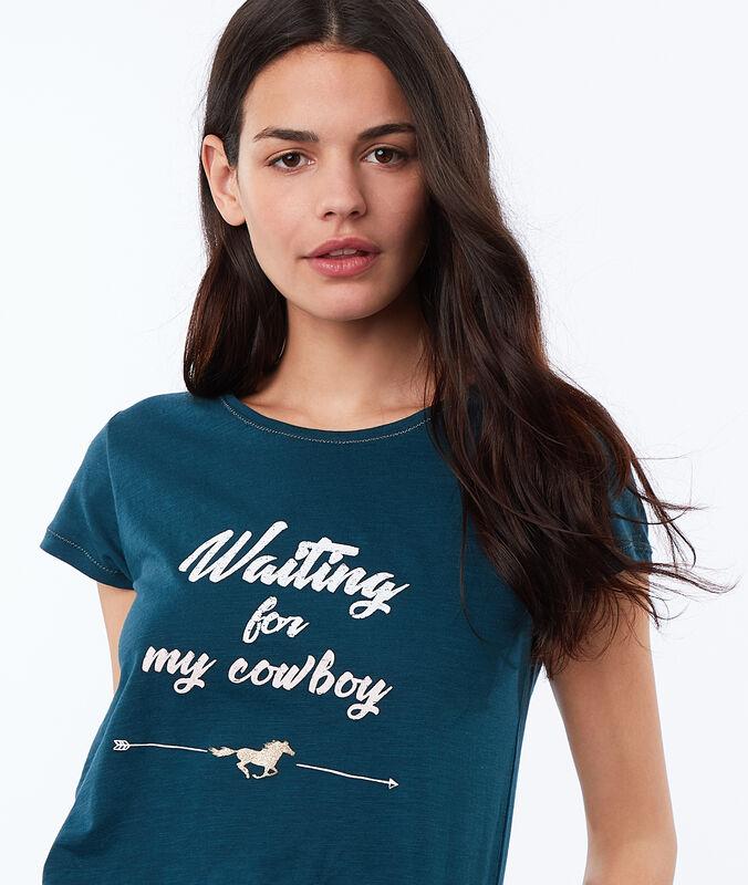 T-shirt con scritta blu.
