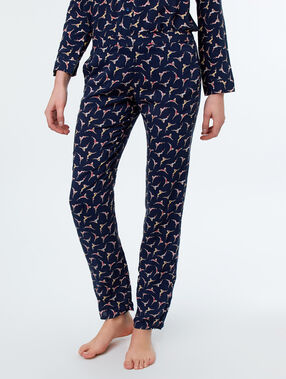 Swimmer print trousers blue.