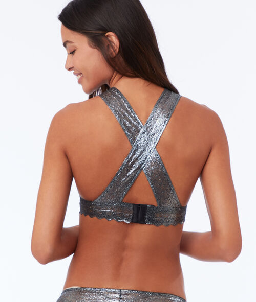 Guipure brassiere with crossed back