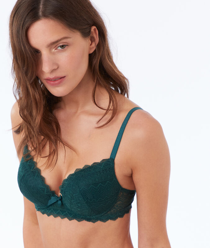 Reggiseno n. 1 - magic up in pizzo verde pino.
