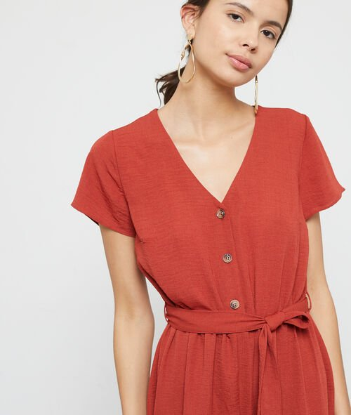 Button through belted playsuit