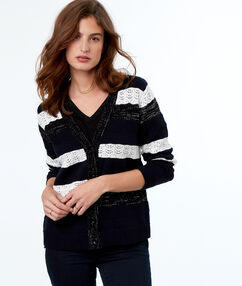 Striped cardigan navy blue.