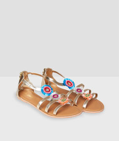 Flat sandals with embellishment golden.