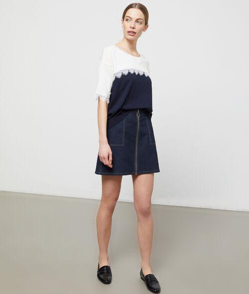 Contrast lace jumper