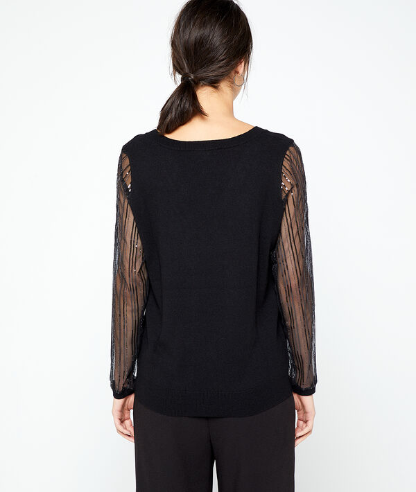 Jumper in sequin details and sheer sleeves