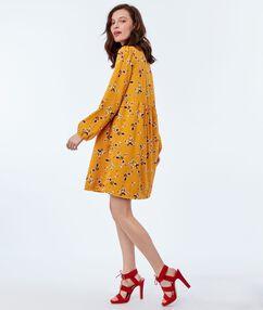 Floral print dress ochre.