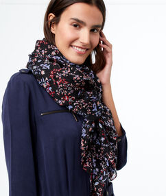 Floral print scarf navy blue.
