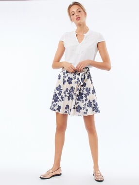Skater skirt with floral print nude.