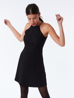 Guipure dress black.