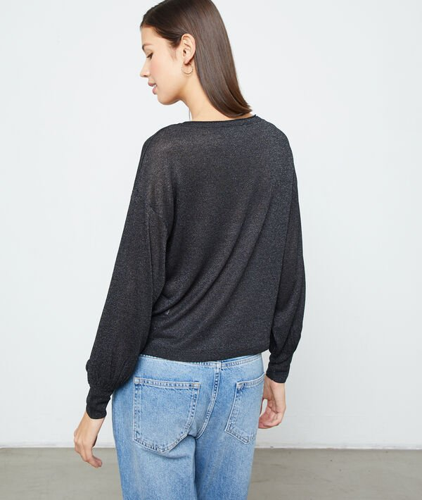Fine knit metallic jumper