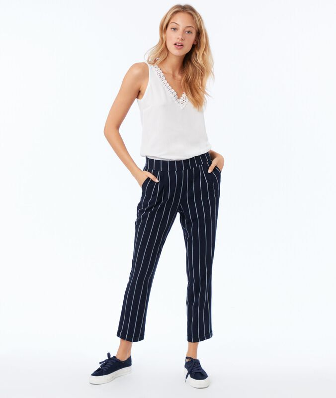 Striped carrot pants navy blue.