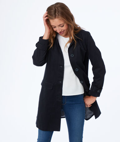 3/4 hooded trench coat navy blue.