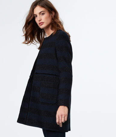 3/4-length striped coat navy blue.