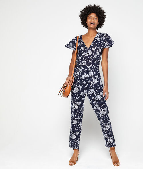 Floral print playsuit with ruffle sleeves