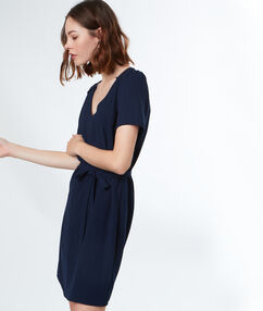 Dress with belt navy blue.
