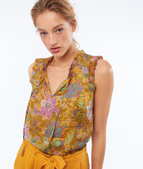 Floral print top with Tunisian neck