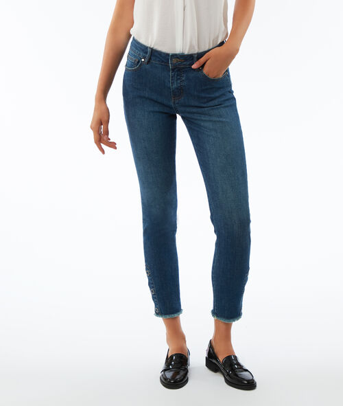 Slim leg jeans with button ankle detail