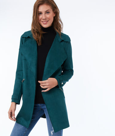 Short trench coat with suede effect forest green.