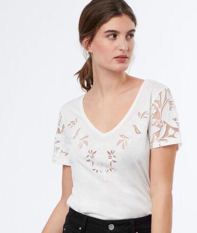 V-neck top off-white.
