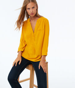 3/4 sleeves blouse yellow.