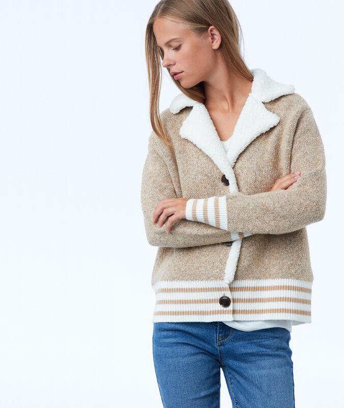 Veste avec col effet peau lainée sable.
