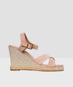 Wedge sandals nude.