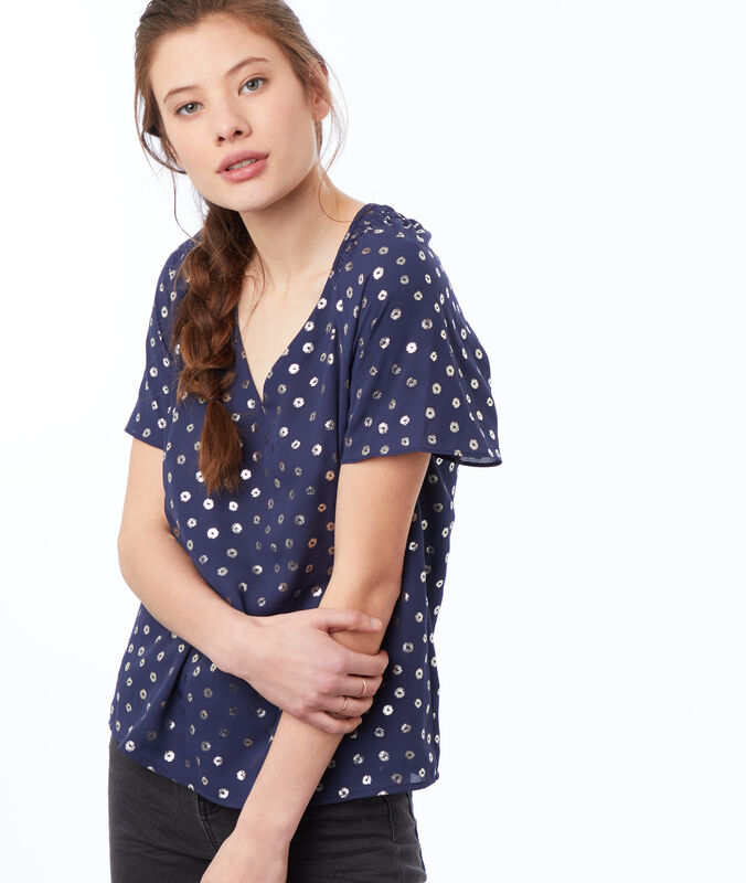 V-neck top navy blue.