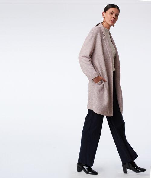 Three quarter length textured coat