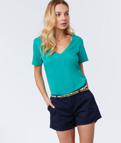 Shorts with belt navy blue.