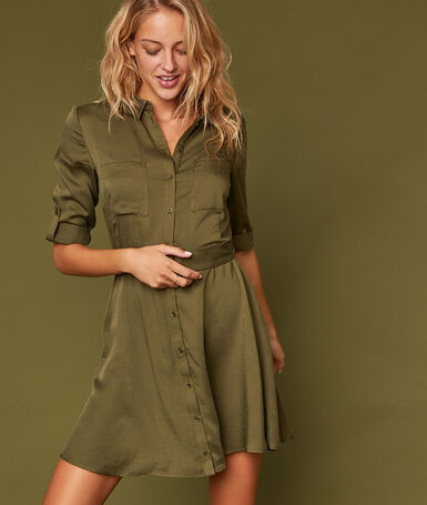 Dress with tencel® belt khaki.