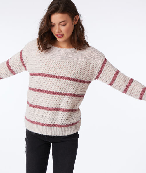 Metallic thread cable knit jumper
