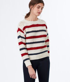 Knitted sweater in stripe off-white.