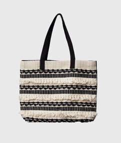 Two-tone cotton tote bag ecru.