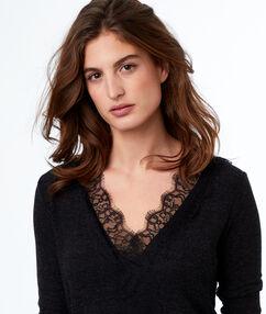 Lace neckline top gray.