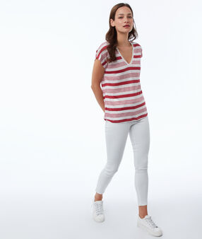 Mixed linen striped t-shirt carmine.