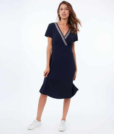 Flared dress with sportswear band collar navy blue.