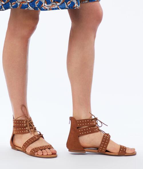 Flat studded sandals