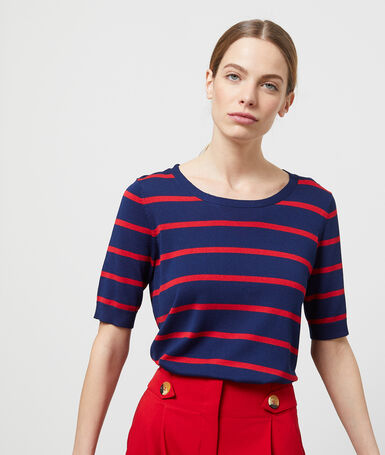 Short-sleeved striped jumper navy blue.