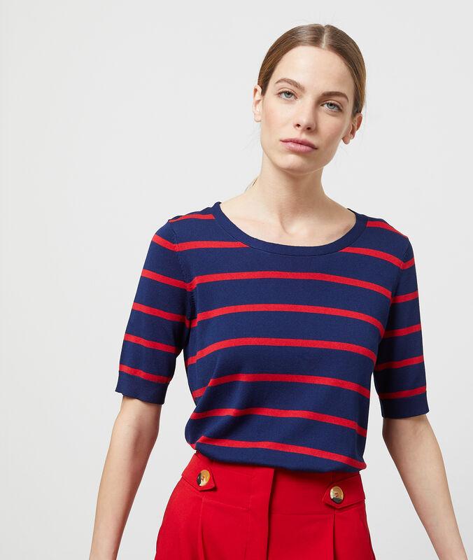 Short-sleeved striped jumper navy blue.