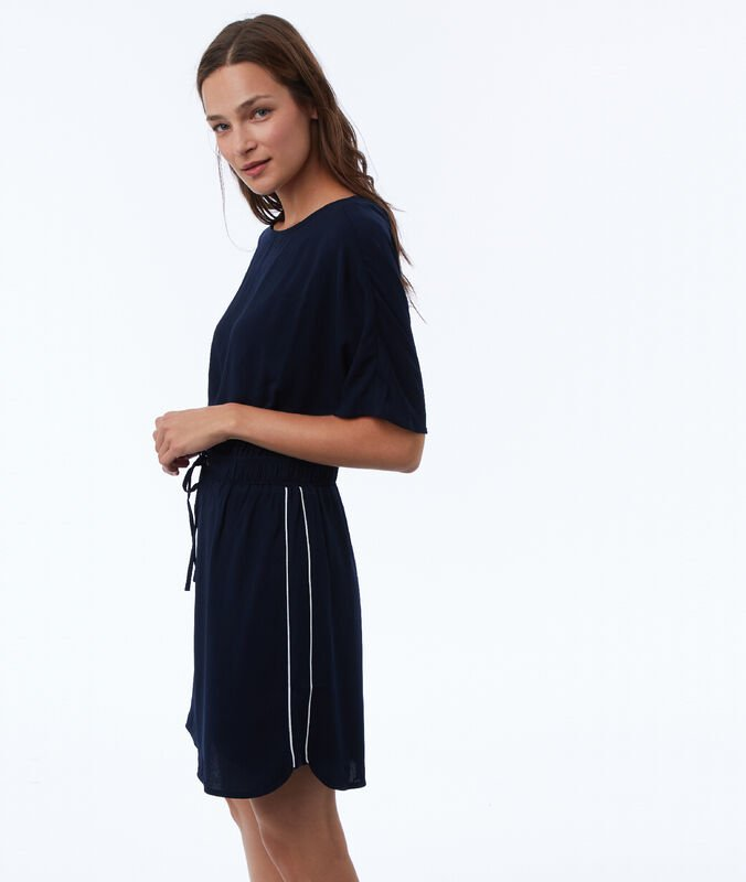 Dress with side stripes navy blue.