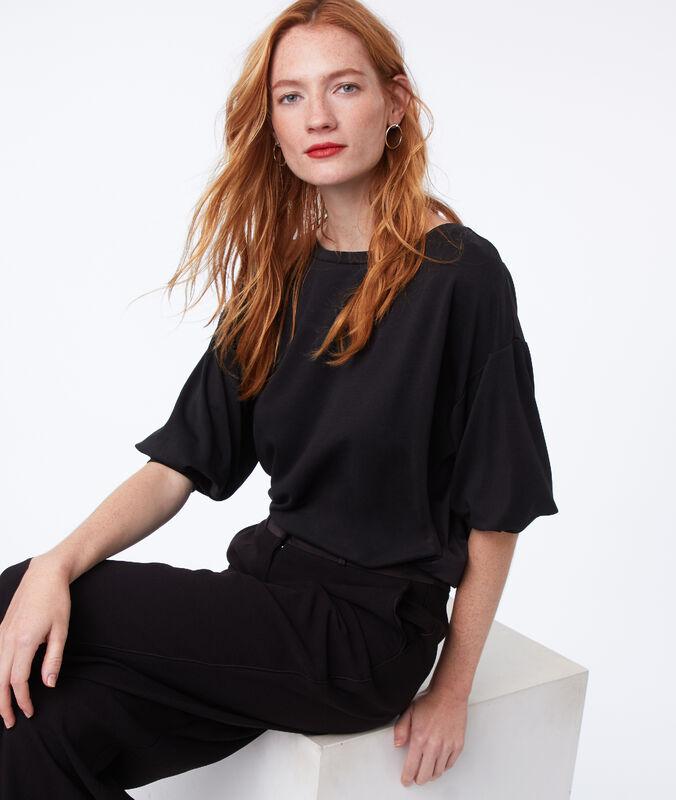 T-shirt manches 3/4 bi-matière noir.