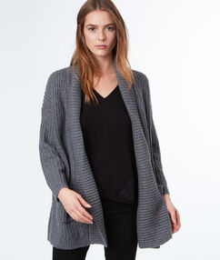 Long cardigan with cable-stitch detail gray.