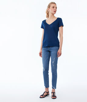 V-neck plain t-shirt moonlight blue.