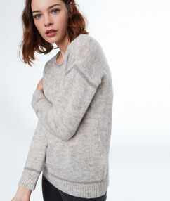 Boat neck sweater grey.