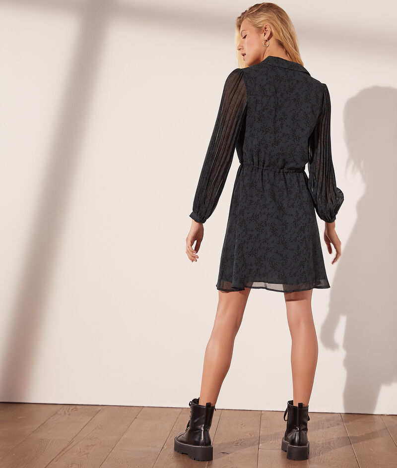 Printed flowing shirt dress