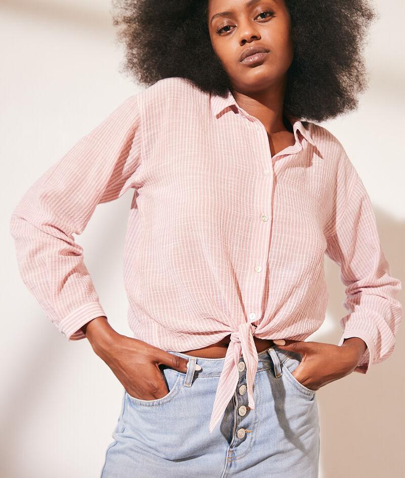 Striped cotton gauze blouse