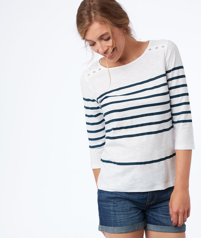 Breton top in cotton teal.