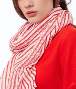 Striped scarf red.